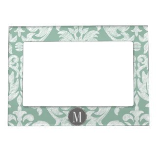 Mint and Gray Damask Pattern Custom Monogram Picture Frame Magnet
