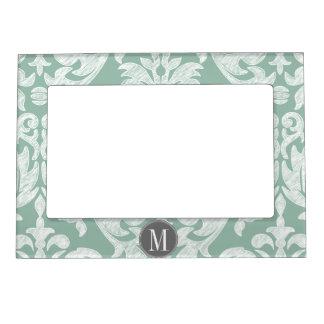 Mint and Gray Damask Pattern Custom Monogram Magnetic Frame