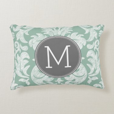Mint and Gray Damask Pattern Custom Monogram Accent Pillow