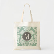 Mint and Gray Damask Pattern Custom Monogram Tote Bag