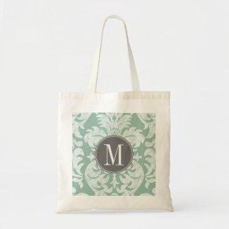 Mint and Gray Damask Pattern Custom Monogram Tote Bag