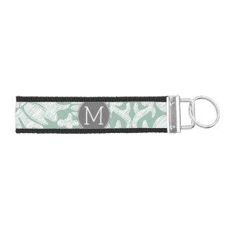 Mint and Gray Damask Pattern Custom Monogram Wrist Keychain