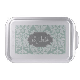Mint and Gray Damask Pattern Custom Name Cake Pan