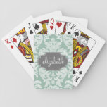 Mint and Gray Damask Pattern Custom Name Card Deck