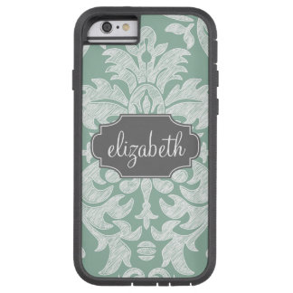 Mint and Gray Damask Pattern Custom Name Tough Xtreme iPhone 6 Case