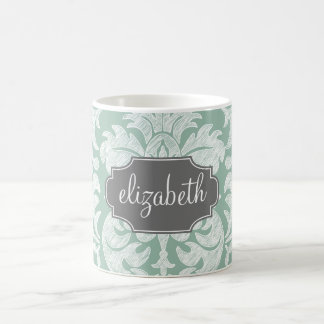 Mint and Gray Damask Pattern Custom Name Classic White Coffee Mug