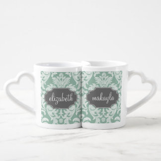 Mint and Gray Damask Pattern Custom Name Coffee Mug Set