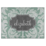 Mint and Gray Damask Pattern Custom Name Cutting Board