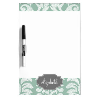 Mint and Gray Damask Pattern Custom Name Dry-Erase Board