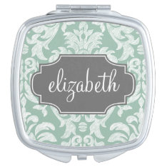 Mint And Gray Damask Pattern Custom Name Mirror For Makeup at Zazzle