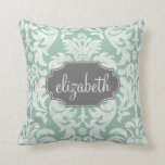 Mint and Gray Damask Pattern Custom Name Throw Pillow
