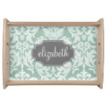 Mint and Gray Damask Pattern Custom Name Serving Trays