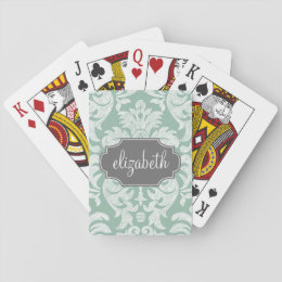 Mint and Gray Damask Pattern Custom Name Playing Cards