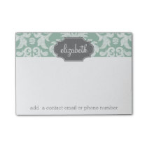 Mint and Gray Damask Pattern Custom Name Post-it Notes