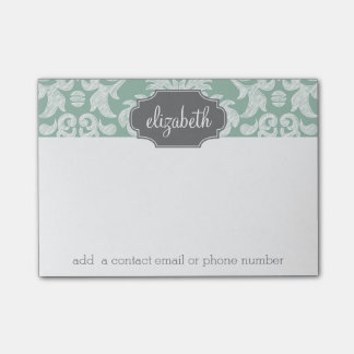 Mint and Gray Damask Pattern Custom Name Post-it® Notes