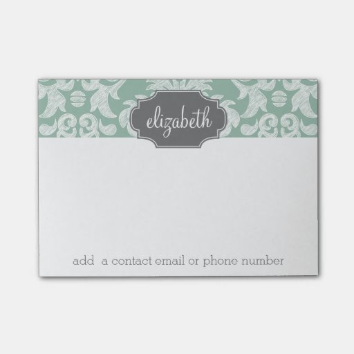 Mint and Gray Damask Pattern Custom Name Post-it(r) Notes