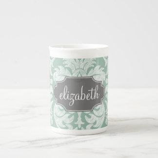 Mint and Gray Damask Pattern Custom Name Tea Cup
