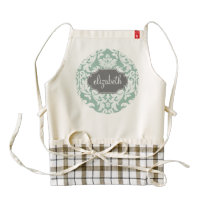 Mint and Gray Damask Pattern Custom Name Zazzle HEART Apron