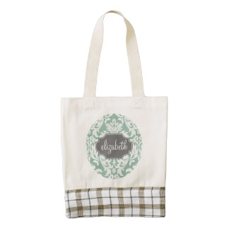 Mint and Gray Damask Pattern Custom Name Zazzle HEART Tote Bag