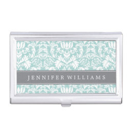Mint and Gray Elegant Damask Business Card Holder