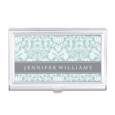 heartlocked Mint and Gray Elegant Damask Business Card Holder