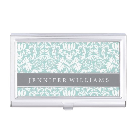 Mint and gray elegant damask business card holder zazzle mint and gray elegant damask business card holder reheart Gallery