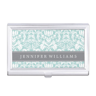 Mint and Gray Elegant Damask Personalized Business Card Cases
