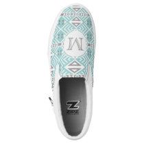 Mint and Gray Geometric Tribal Pattern Monogram Slip-On Sneakers