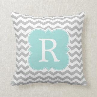 Mint and Gray Monogram Chevron Stripes Throw Pillow
