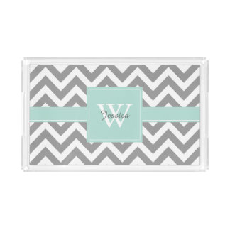 Mint and Gray Monogrammed Chevrons Pattern Rectangle Serving Trays