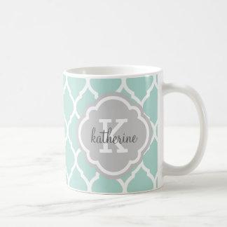 Mint and Gray Moroccan Quatrefoil Monogram Classic White Coffee Mug