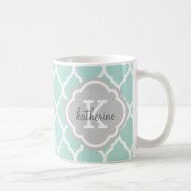 Mint and Gray Moroccan Quatrefoil Monogram Coffee Mug