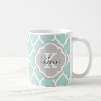 Mint and Gray Moroccan Quatrefoil Monogram Coffee Mug
