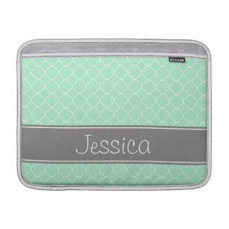 Mint and Gray Quatrefoil Pattern Personalized MacBook Sleeve