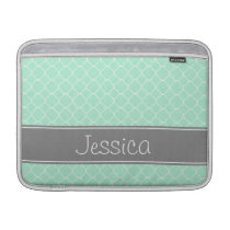 Mint and Gray Quatrefoil Pattern Personalized Sleeve For MacBook Air