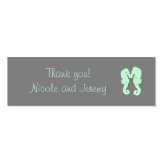 Mint and Gray Seahorse Skinny Thank You Tags Double-Sided Mini Business Cards (Pack Of 20)