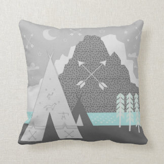 Mint and Gray Tepee Arrow Patterned Mountain Throw Pillow