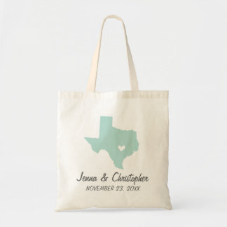 Mint and Gray Texas Wedding Welcome Tote Bag