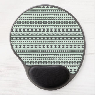 Mint and Gray Tribal Aztec Pattern Gel Mouse Pad