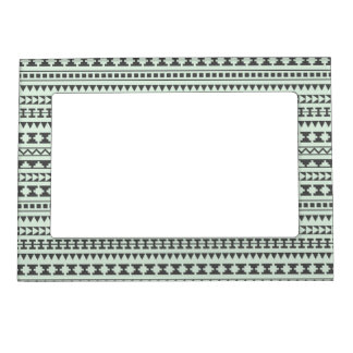 Mint and Gray Tribal Aztec Pattern Magnetic Photo Frame