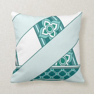 Mint and Green Celtic Clover and Flower Ribbon Throw Pillow
