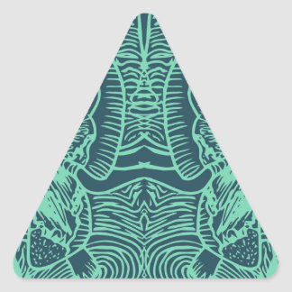 Mint and Green Flowers of Harmony Triangle Sticker