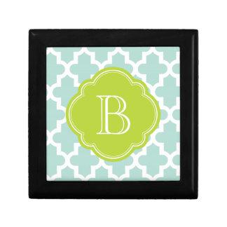 Mint and Green Modern Moroccan Custom Monogram Gift Box
