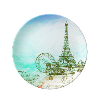 Mint and Green Pastels Impressionist Paris France Dinner Plate