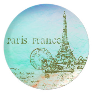 Mint and Green Pastels Impressionist Paris France Plate