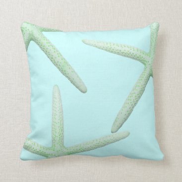 Beach Themed Mint and Green Starfish Coastal Decor Pillow