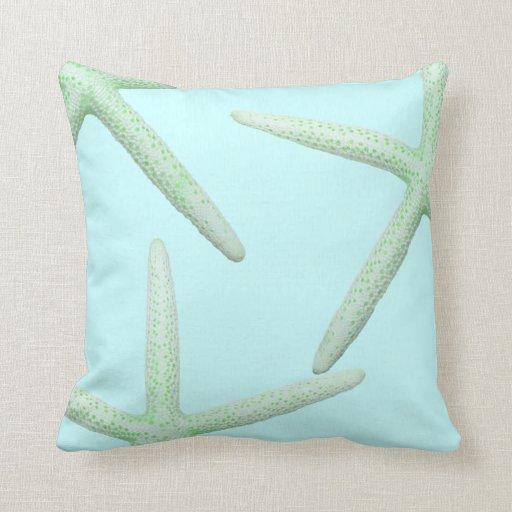Mint and Green Starfish Coastal Decor Pillow