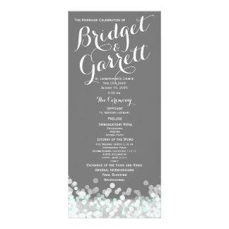 Mint and Grey Twinkle Lights Wedding Program