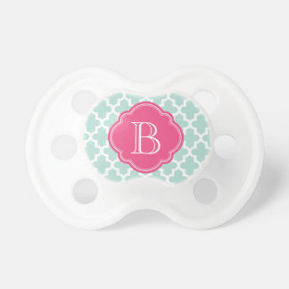 Mint and Hot Pink Modern Moroccan Custom Monogram BooginHead Pacifier