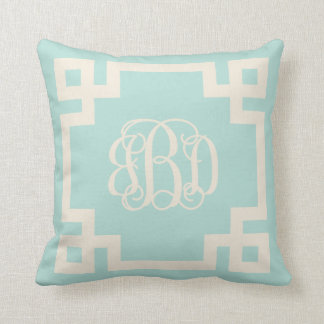 Mint and Ivory Greek Key Script Monogram Throw Pillow